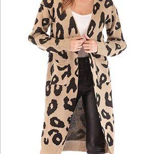 Sweaters - Women Long Sleeve Open Front Leopard Long Cardigan